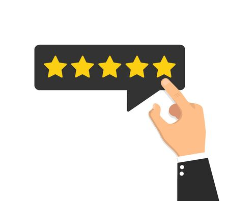 Hand giving five star rating feedback. Vector illustration