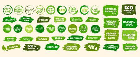 Labels and emblems organic, natural, healthy food, fresh and vegetarian food Illustration