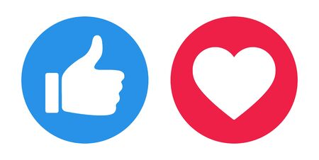 Flat hand like with red heart. Vector Illustration. Illustration
