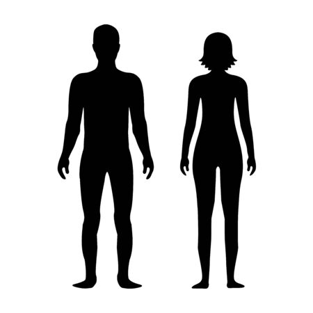 Male and female body silhouette template. Body silhouettes icon for medicine. Illustration