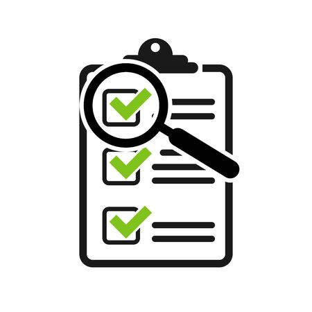 Survey or checklist flat icon with magnifying glass