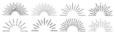Sun rays hand drawn, linear drawing Illustration