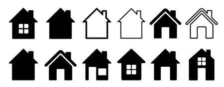Home flat icon set vector illustration Illustration
