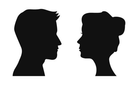 Face in profile icon. Man and woman silhouette