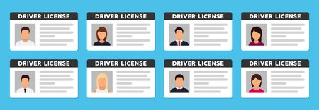 Document ID with person photo. Vector icon in flat
