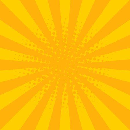 Sunburst vector. Sun rays yellow background Illustration