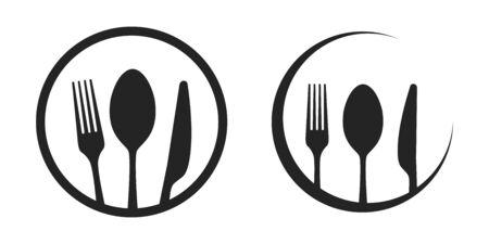 Vector cutlery set. Fork, knife. Flat style. Illustration