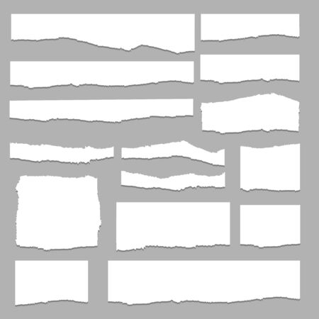 Set of pieces of white torn paper, isolated on grey background. Vector illustration