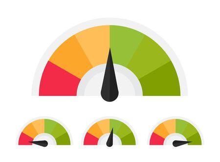 Customer meter. Different emotion customer service mangement. Vector flat illustration