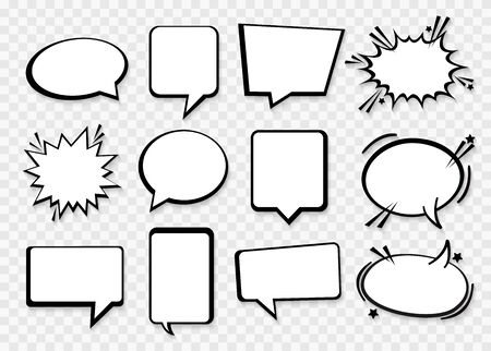 Speech or thought bubbles. Retro empty comic speech bubbles set. Vector icon Illustration