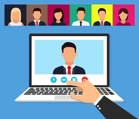 Illustration of webinar, online conference and training. Flat. Vector illustration Illustration