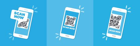 Scan QR code flat icon with phone. Barcode. Vector illustration. Illustration