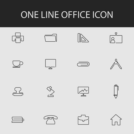 one line office icon