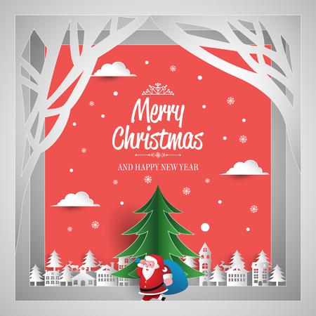 merry christmas and happy new year paper art Ilustração