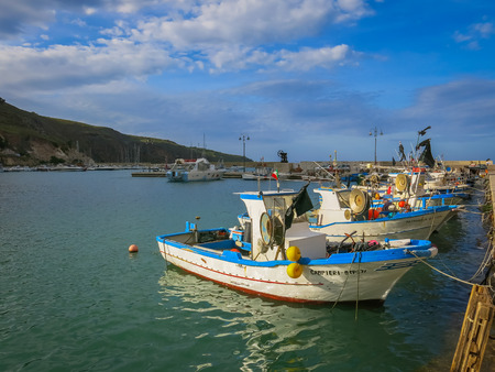 clandestine: Fishing boats in typical Sicilian port Editorial