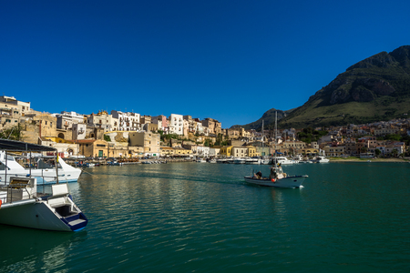 castellammare del golfo: Panoramic view of harbour with fishing boats on Castellammare del Golfo town, italy, sicily