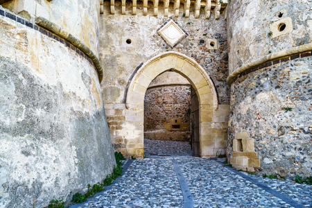leaden: Gate at Milazzo castle, Sicily Stock Photo