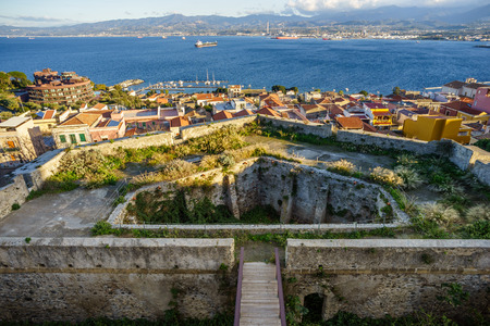 crenelation: Round bastion of medieval castle in Milazzo, Sicily Stock Photo