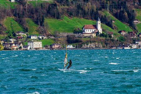 montreux: Windsurfing at Lake Lucerne, Switzerland Stock Photo