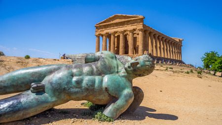 Valley of Temples, Agrigento Sicily in Italy. Icarus bronze statue
