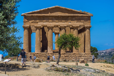 Temple of Concordia. Valley of the Temples in Agrigento on Sicily, Italy Editorial