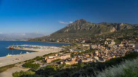 panoramic view on harbor of Termini Imerese, Sicily, Italy. Stock Photo