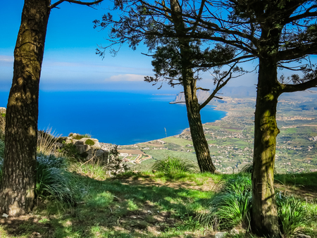 erice: view of Cofano mount and the Tyrrhenian coastline from Erice, Sicily, Italy
