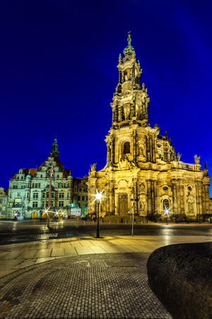 The Kreuzkirche Church of the Holy Cross in Dresden, of the Evangelical Church in Germany Stock Photo