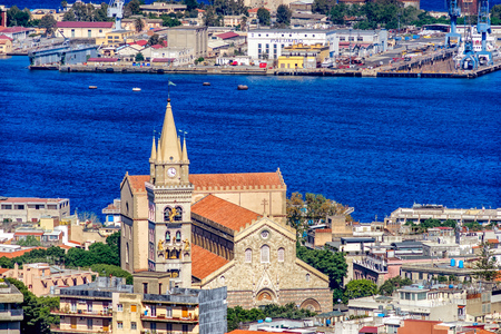 Panoramic view of the Messina.. Reggio di Calabria is seen on the opposite bank. Sicily. Italy