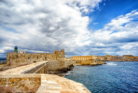 Panorama castle Maniace in Ortigia Old Town, Sicily Stock Photo