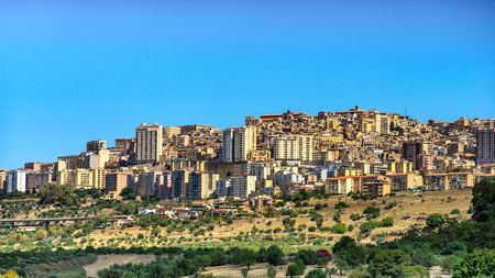 Agrigento, Sicily. View on the town of Agrigento from Temples Valley. Cityscape of the italian city