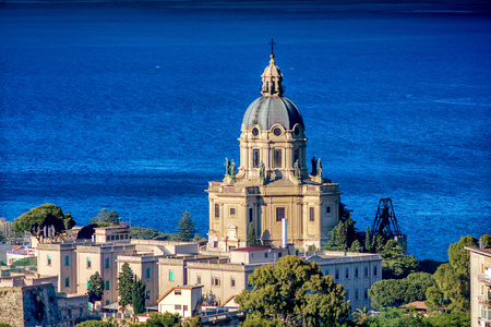 Panoramic view of the Temple Christ the King , Messina, Sicily. Italy. Stock Photo