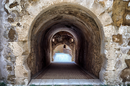 Inside view Maniace Castle fortification in Siracusa, Sicily, Italy