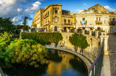 The Arethusas fountain on the island of Ortygia in Syracuse, Sicily, Italy