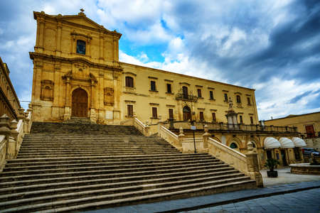 Stairs in front of Church of Saint Francis of Assisi in Noto city, Sicily in Italy