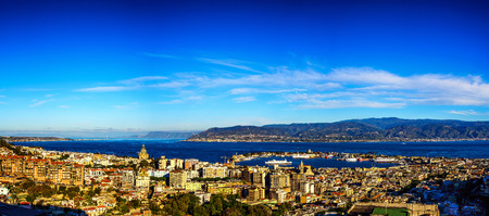 The Strait of Messina, Italy is the narrow passage between eastern tip of Sicily and the western tip of Calabria. 写真素材