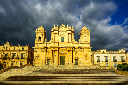 front view of Noto Cathedral (Minor Basilica of St Nicholas of Myra) in Sicily