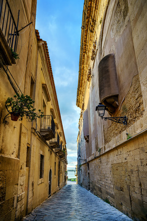Famous Ortigia Alley in Syracuse, Sicily, Italy