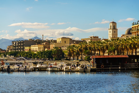 View of the town of Milazzo from the sea, Sicily, Italy Stock Photo