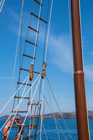 mast: Sailboat mast and rigging Stock Photo