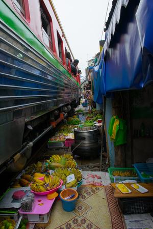 Maeklong market, railway market
