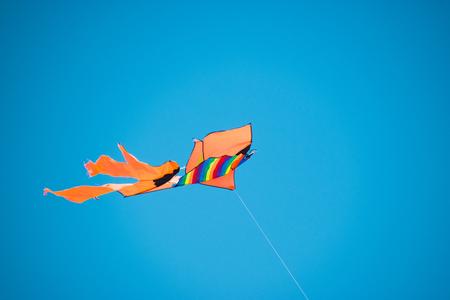 nylon string: Colorful kite in the sky Stock Photo