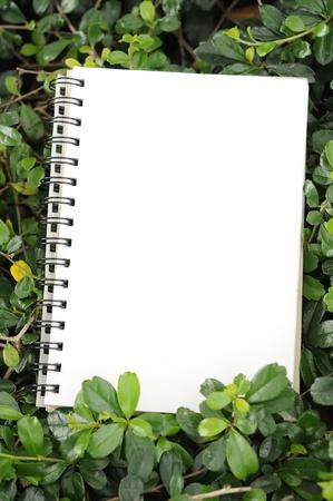 notebook in garden vertical composition