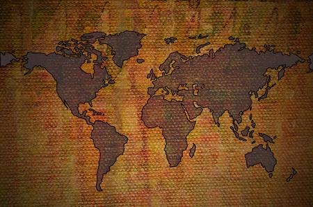 World map on canvas photo