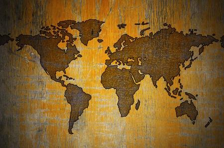 World map on wood photo