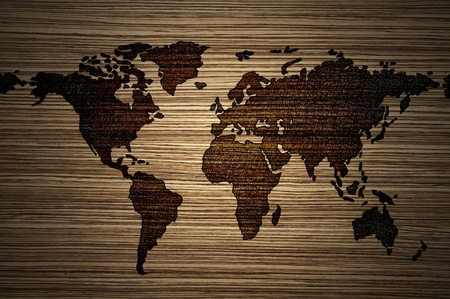 World map on modern wood background