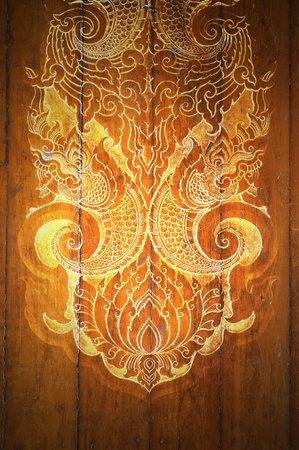 Pattern Decorative Art of Lanna Thai. digital fine-art on wood
