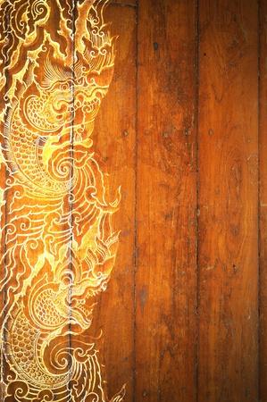 Wzór sztuka z Lanna Thai. Digital Fine-art na drewnie
