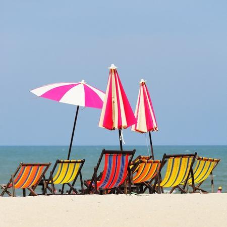 hin: Beach chairs colorful  at Hua Hin Thailand