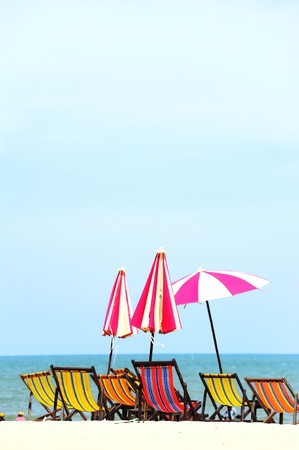 Beach chairs colorful  at Hua Hin Thailand